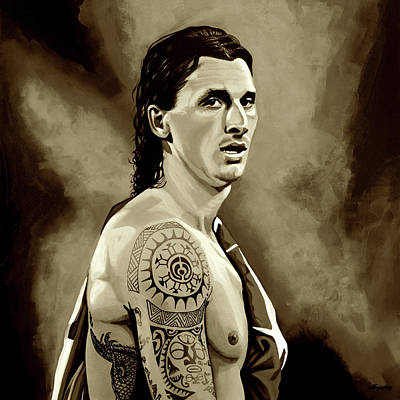 League Mixed Media - Zlatan Ibrahimovic Sepia by Paul Meijering