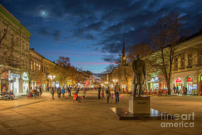 Photograph - Zmaj Jovina Street In Moonlight by Jivko Nakev