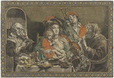 Painting - Zo D Ouden Zongen, Zo Pijpen Piepen De Jongn, Anonymous, After Schelte Adamsz. Bolswert, Jacob Jorda by Celestial Images