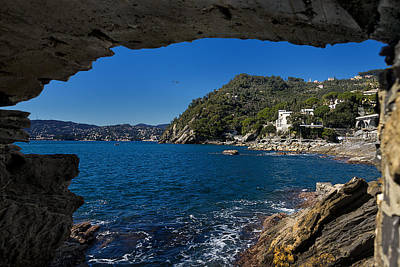 Photograph - Zoagli And Rapallo Sea Panorama From The Grotto by Enrico Pelos