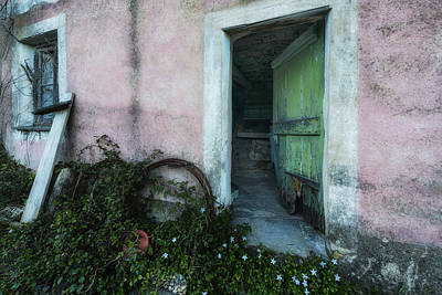 Photograph - Zoagli Old Abandoned Door With Flowers by Enrico Pelos