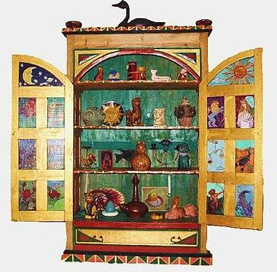 Greeting Card - Zodiac Armoire - Open View by Rae Chichilnitsky