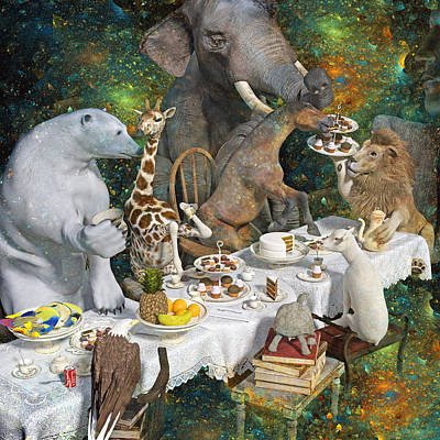 Tea Party Digital Art - Zodiac Brainstorming by Betsy Knapp