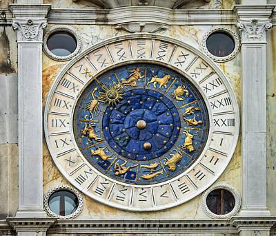 Photograph - Zodiac Clock At St Marks Square by Gary Slawsky