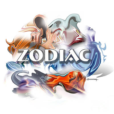 Horoscope Sign Painting - Zodiac Cover by Christian Simonian