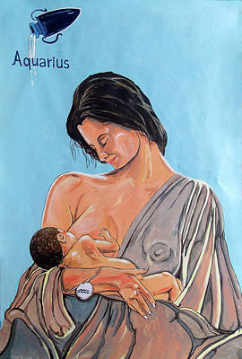 Painting - Zodiac Series_ Aquarius by Lazaro Hurtado