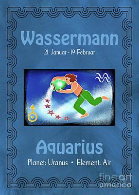 Digital Art - Zodiac Sign Aquarius - Wassermann by Gabriele Pomykaj