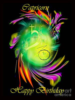 Animal Watercolors Juan Bosco - Zodiac sign Capricorn Happy Birthday by Walter Zettl