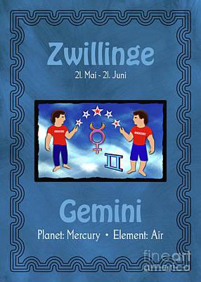 Digital Art - Zodiac Sign Gemini - Zwillinge by Gabriele Pomykaj