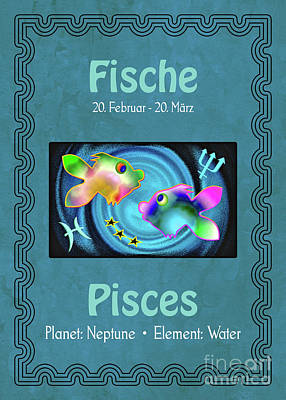 Digital Art - Zodiac Sign Pisces - Fische by Gabriele Pomykaj