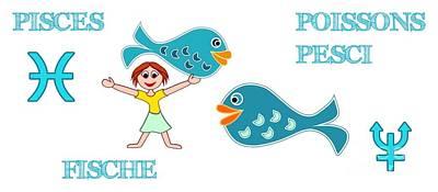Digital Art - Zodiac Sign Pisces by Gabriele Pomykaj