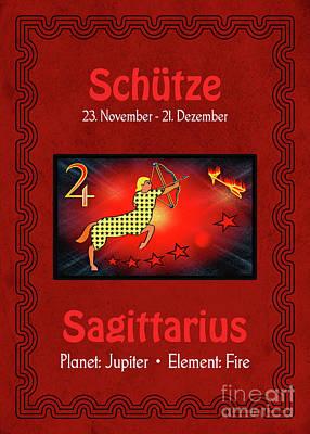 Digital Art - Zodiac Sign Saggitarius - Schuetze by Gabriele Pomykaj