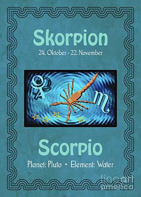 Digital Art - Zodiac Sign Scorpio - Skorpion by Gabriele Pomykaj