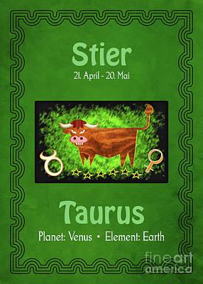 Digital Art - Zodiac Sign Taurus - Stier by Gabriele Pomykaj