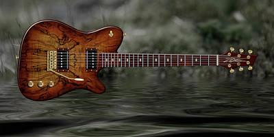 Digital Art - Zoe Concept Guitar by WB Johnston