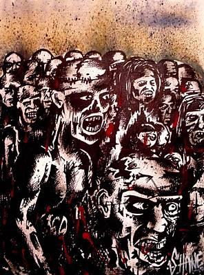 Undead Drawing - Zombie Army by Sam Hane