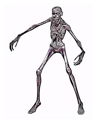 Topless Digital Art - Zombie, Digital Art By Mb by Mary Bassett