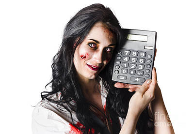 Zombie Finance Worker With Calculator Art Print
