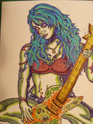 Zombie Guitar Art Print by Michael Toth