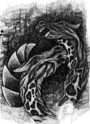 Crazy Horse Drawing - Zombie Horses by Jason Pliler