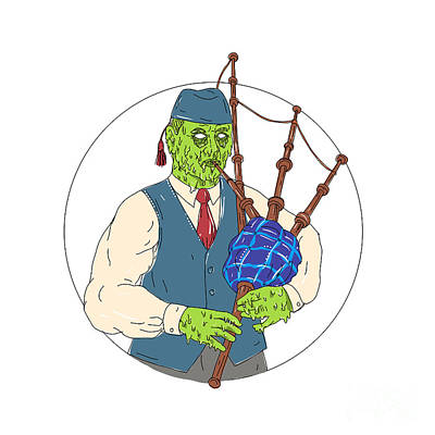Zombie Piper Playing Bagpipes Grime Art Art Print