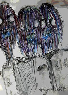 Zombie Trio Art Print by Mimulux patricia no No
