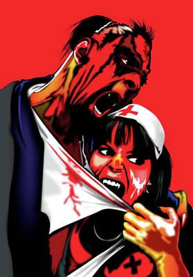 Barker Digital Art - Zombie Vampire Nurse by Brian Gibbs