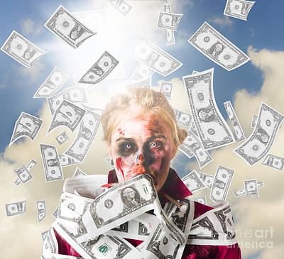 Zombie With Crazy Money. Filthy Rich Millionaire Art Print by Jorgo Photography - Wall Art Gallery