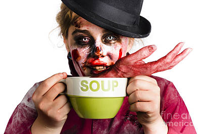 Hand Made Photograph - Zombie Woman Eating Hand Soup by Jorgo Photography - Wall Art Gallery