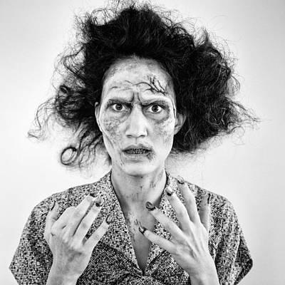 David Bowie - Zombie woman portrait black and white by Matthias Hauser
