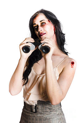 Zombie Woman With Binoculars Art Print by Jorgo Photography - Wall Art Gallery