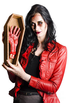 Coffin Photograph - Zombie Woman With Coffin And Severed Hand by Jorgo Photography - Wall Art Gallery