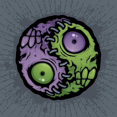 Horror Drawing - Zombie Yin-yang by John Schwegel