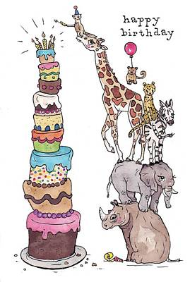 Zoo Animals Happy Birthday Card Art Print by Katrina Davis