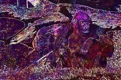 Digital Art - Zoo Monkey Animal  by PixBreak Art