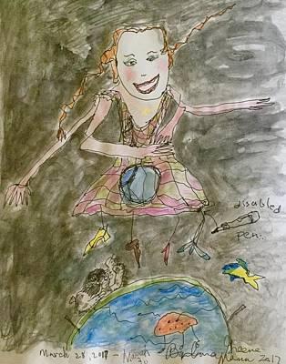 Little Girl Mixed Media - Happy by Barb Greene mann