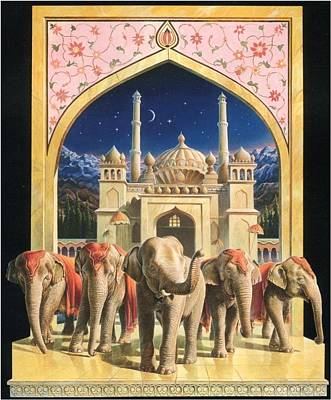 Painting - Zoofari Poster The Elephants by Hans Droog