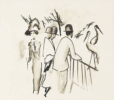 Herons Drawing - Zoological Garden II by August Macke