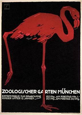 Flamingo Mixed Media - Zoologischer Garten Munchen, Germany - Retro Travel Poster - Vintage Poster by Studio Grafiikka