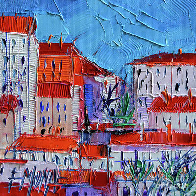 Rooftops Painting - Zoom On Croix-rousse - Lyon France - Palette Knife Oil Painting By Mona Edulesco by Mona Edulesco
