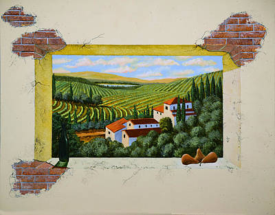 Winery Painting - Zorn Villa Mural Sketch by Frank Wilson