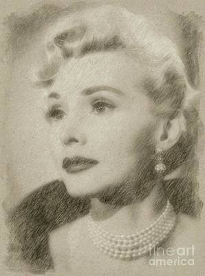 Classic Portrait Drawing - Zsa Zsa Gabor, Actress by Frank Falcon