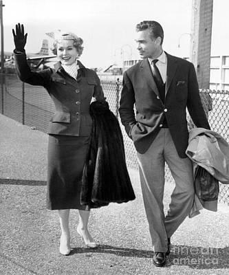 Zsa Zsa Gabor And Porfirio Rubirosa Arrive At Idlewild Airport From Ireland. 1954 Art Print by Barney Stein