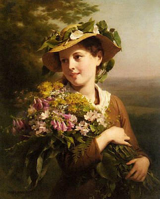 Digital Art - Zuber Buhler Fritz A Young Beauty Holding A Bouquet Of Flowers by Zuber Buhler