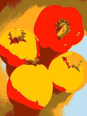 Digital Art - Zucchini And Bell Pepper by Kumiko Izumi
