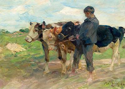 Painting - Zugel  Heinrich Von 1850 Munich 1941 Young Herdsman With Three Young Cows by Artistic Panda