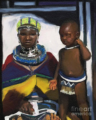 Mixed Media - Zulu Family South Africa by Vannetta Ferguson