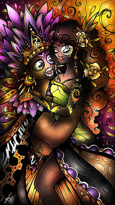 Fleur De Lis Digital Art - Zulu Love by Mandie Manzano