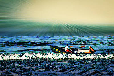 Mixed Media - Zuma Beach Boating by Joseph Hollingsworth