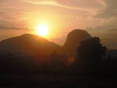 Painting - Zuma Rock, Abuja Nigeria by Bankole Abe